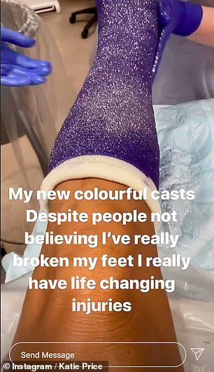Not her usual accessories: Taking to her Instagram Story, Katie shared a fun video of her blue and pink feet covered in glitter by nurses at the hospital