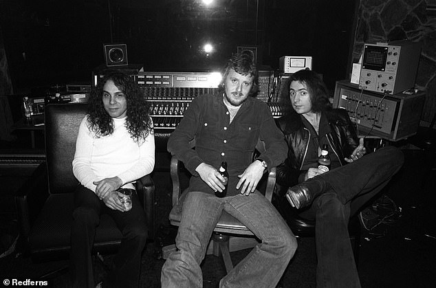 Martin Birch (center) with Rainbow teammates Ronnie Dio (left) and Ritchie Blackmore (right)