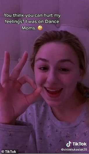 Blocked out: Chloe Lukasiak, 19, stated in her video's caption that she doesn't even remember the four years she spent on the show because it the 'experience was so traumatizing'