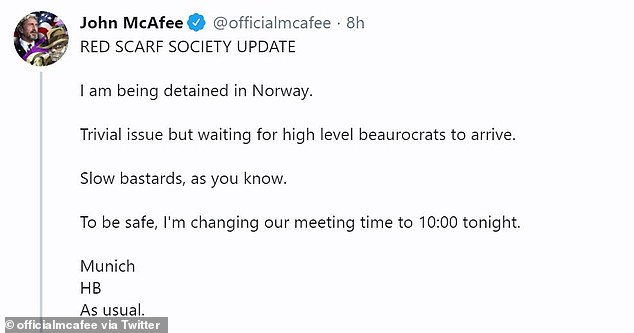 McAfee first confirmed his detention in a tweet announcing that he would have to push back the meeting time for his group called the Red Scarf Society