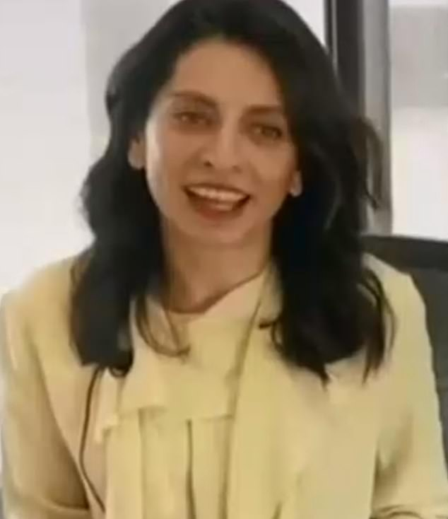 Global Victoria chief executive Gonul Serbest (pictured) is seen in the video celebrating the hotel quarantine system's 'success'