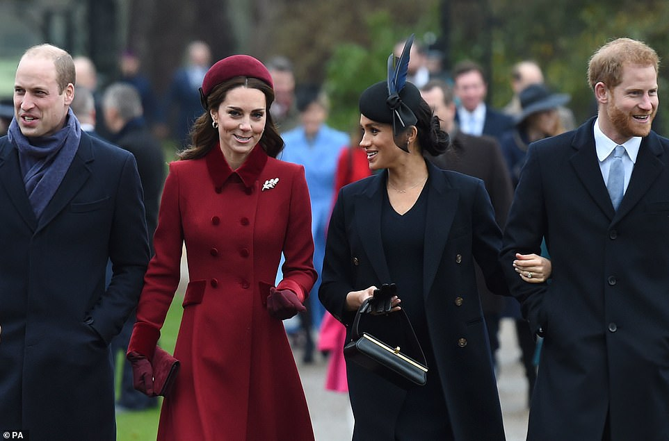 The Duke of Cambridge, the Duchess of Cambridge, the Duchess of Sussex and the Duke of Sussex arrive to attend the Christmas Day morning church service at St Mary Magdalene Church in Sandringham, Norfolk, on December 25, 2018