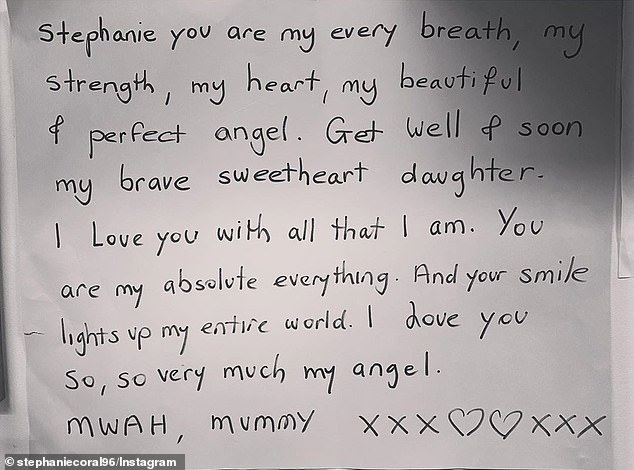 'She wrote up a poster so that I could have it read to me every night as a reminder of her love and to give me strength,' Miss Browitt revealed, sharing a photograph of the touching note