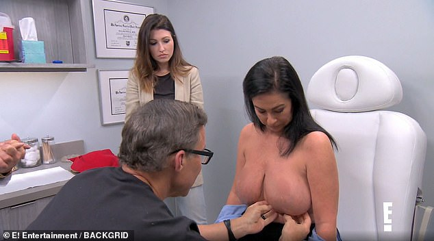 During her six operations, Meredith (pictured with one of the Botched doctors) had also seen another surgeon who took out her failed implants - but soon her breasts increased in size naturally