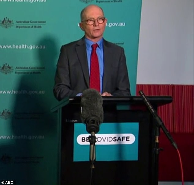 Australia'a Chief Medical Officer Paul Kelly  (pictured) told media on Tuesday the vaccine could be ready to go sooner than expected