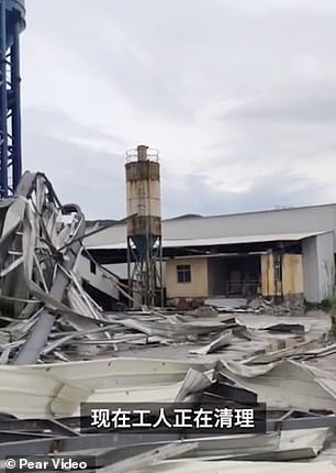 The picture shows the aftermath of the factory site after it was hit by the typhoon
