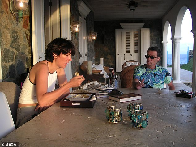 The new photographsshow Maxwell eating dinner from a platter while Jean-Luc smokes a cigarette nearby