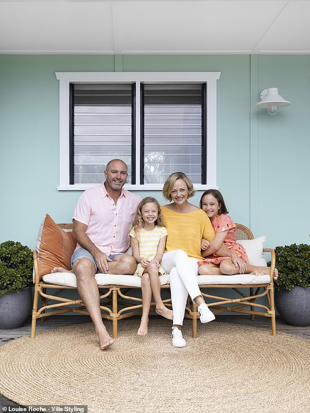 Brand new again! The transformation of the 1950s property took The Block host and husband Christian just nine weeks to complete, according to Domain. Shelley is pictured with Christian and their daughtersMilla and Eadie