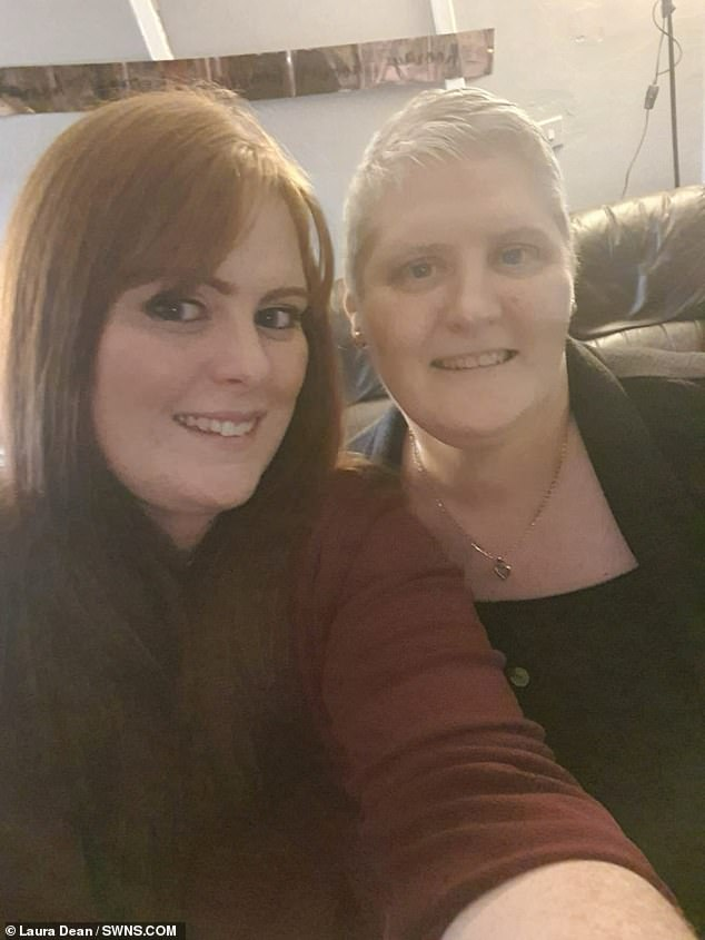 Laura Dean (left), 32, from Blackpool, who was adopted as baby has finally been reunited with her birth family after years of searching - thanks to Facebook. Pictured, with her birth mother Jennifer Wilson