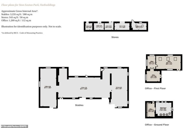 Revered architectural historian Sir Nikolaus Pevsner described the house (the outbuildings' floorplans pictured) as 'exceptionally sumptuous' and it has lots of incredible architectural details including stone floors, fine fireplaces, decorative ceilings and classical wall paintings