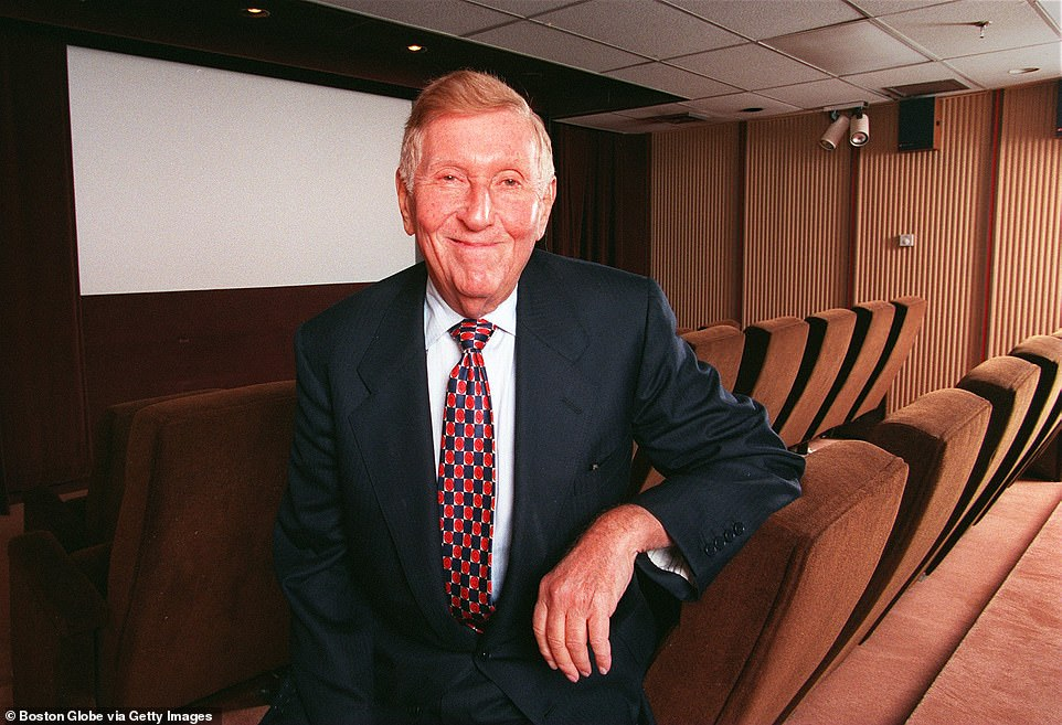 Sumner Redstone is seen in 1998 in the screening room at his family company National Amusements