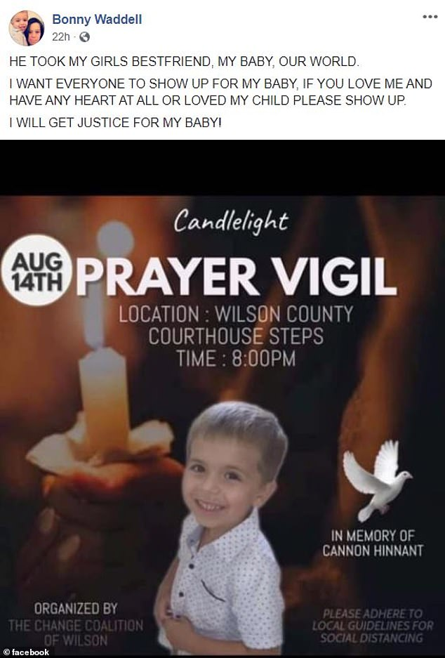 Hinnant's mother urged locals to attend a vigil on Friday