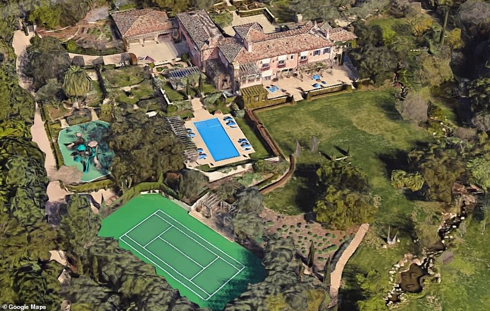 The home boasts a tennis court, tea house, children's cottage and a pool, among other amenities