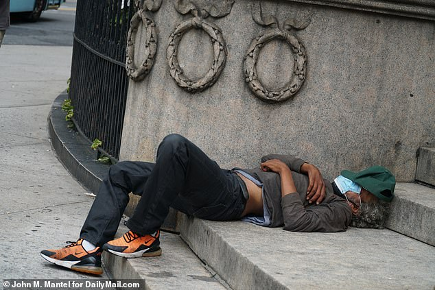 Upper West Side residents are complaining about homeless people, pictured on August 7