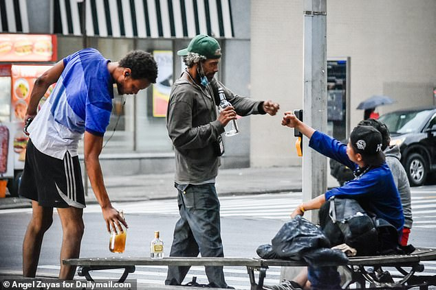 Homeless people were spotted drinking in the Upper West Side and urinating publicly