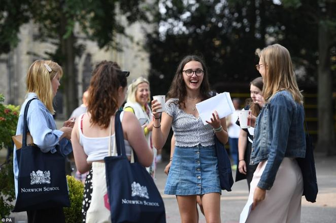 Emily Wallace (centre) smiles as students at Norwich School in Norfolk receive their A-level results this morning