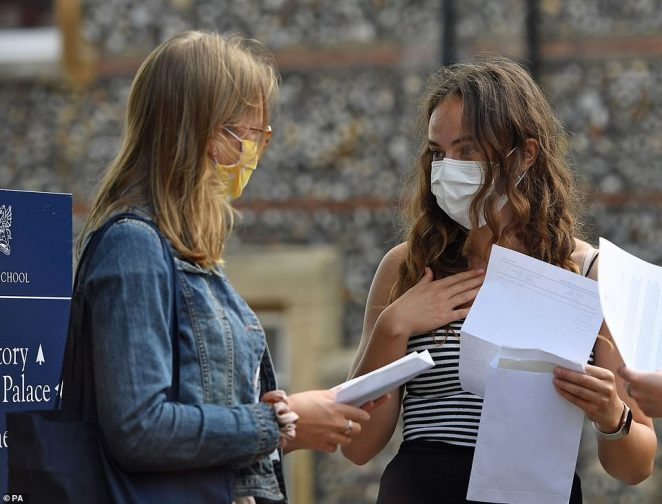 Mimi Ferguson (left) and Benita Stipp react as students at Norwich School receive their A-level results this morning