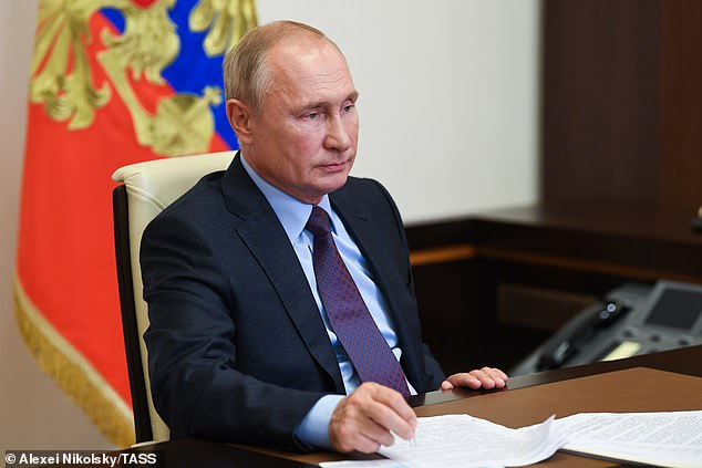 Putin said one of his daughters had received the vaccine and had not experienced any side effects worse than a high temperature.  'She feels great and has a high antibody count,' he boasted
