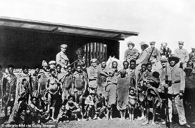 German soldiers with indigenous populations captured in Namibia in 1905, when the country was part of the short-lived German colonial empire
