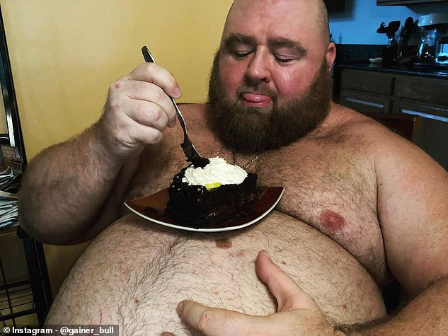 The 500lb man, who goes by the name Gainer Bull, began gaining weight around 20 years ago and gained more than 320lbs