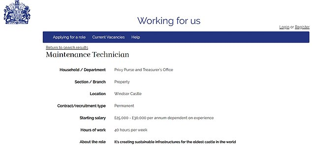 Meanwhile the Maintenance Technician vacancy, also at the Privy Purse and Treasurer¿s Office at Windsor Castle, carries a salary of £25,000 - £30,000
