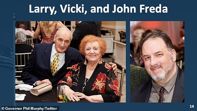 Larry and Vicki Freda, aged 85 and 83, died of COVID-19 in April after their son, John (right), died just two days earlier from the virus