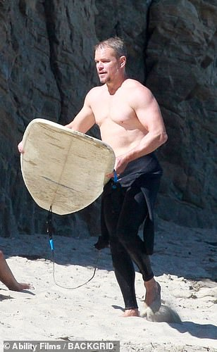 Looking good: His muscular trunk and arms looked great