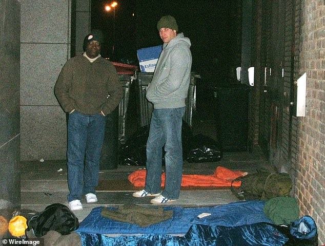 Prince William, who took over as patron of Centre Point from his mother, spend a night rough sleeping in 2005 to raise awareness for the cause