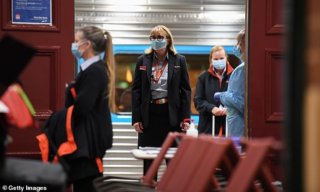 The data suggested an average of between 30 and 35 per cent of people are using masks when they travel (pictured, train crew on a Melbourne to Sydney train in July before borders closed)