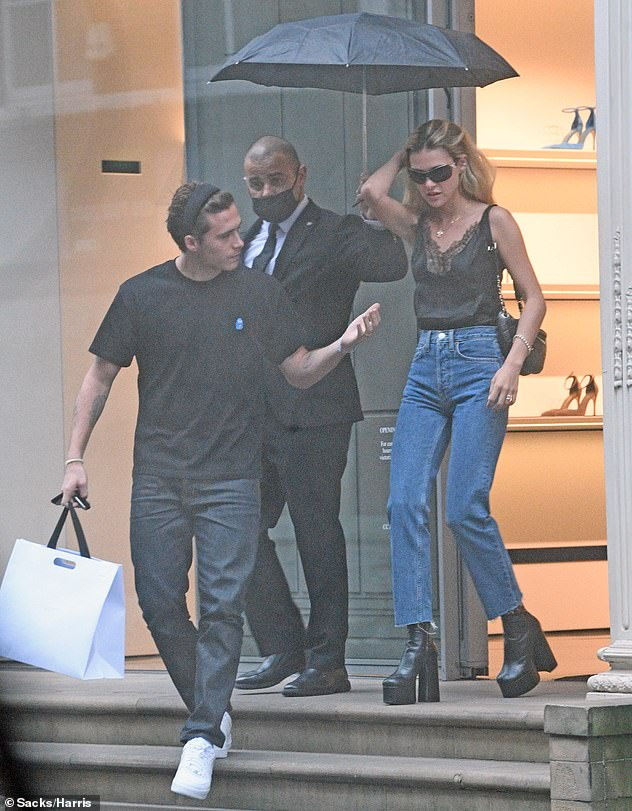 Keeping it in the family!The aspiring photographer, 21, and actress, 25, were pictured enjoying a shopping trip at his mother Victoria Beckham's flagship store in London on Thursday