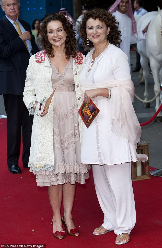 Epic falling out:This isn't the first time the star has been embroiled in a Twitter feud and in 2019 her younger sister Julia Sawalha, 51, slammed the TV star for discussing their 'really volatile relationship' on Loose Women (pictured in 2010)