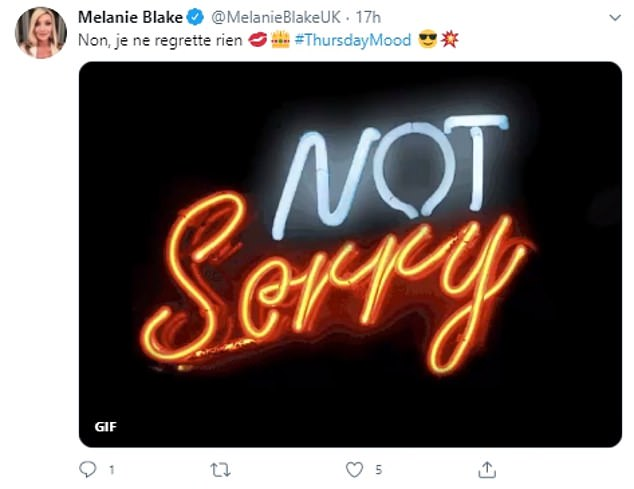 Not sorry! She also posted a cryptic message in French, which translates as 'No, I do not regret anything' alongside a 'not sorry quote'