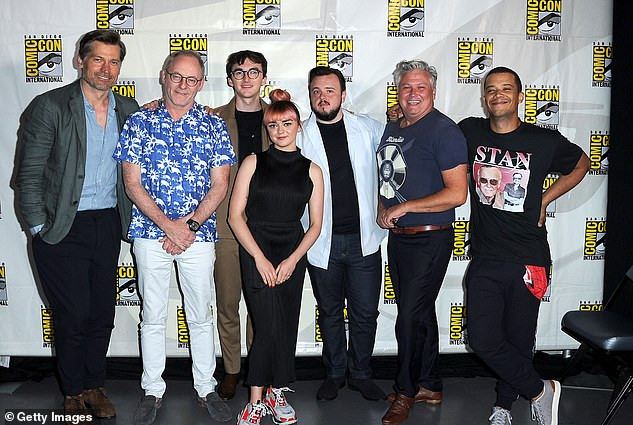 Defending itself: Nikolaj Coster-Waldau, Liam Cunningham, Isaac Hempstead Wrightt, Maisie Williams, John Bradley, Conleth Hill and Jacob Anderson were among the Game Of Thrones cast at Comic-Con on Friday who defended the controversial final season