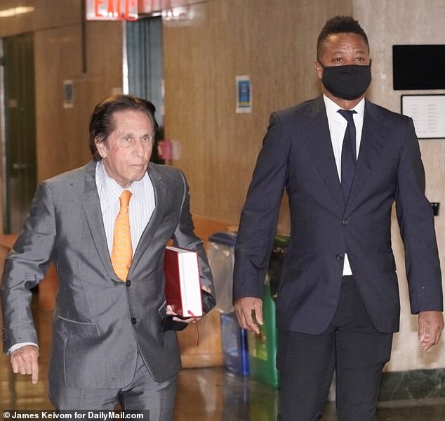 Present: Cuba Gooding Jr. arrives in court in Manhattan on Thursday morning for a pre-trial hearing