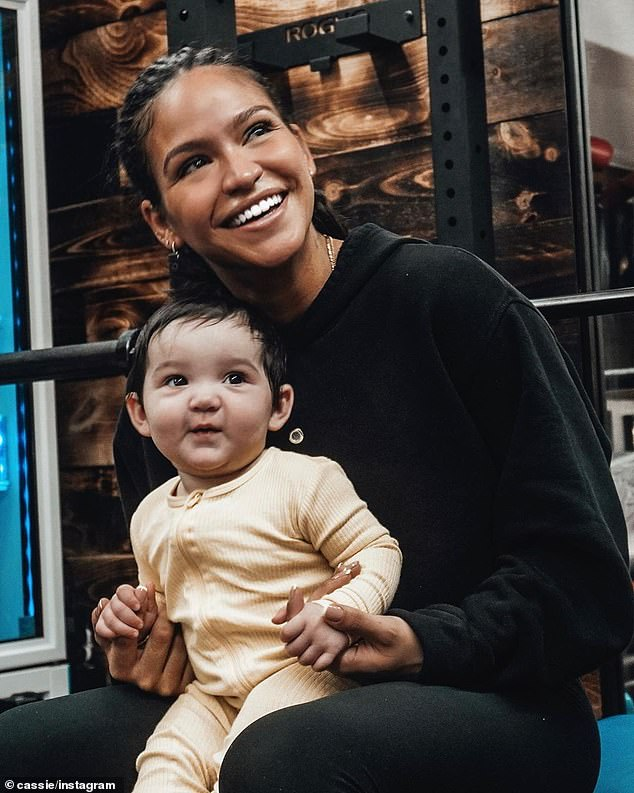 Baby mine: Last week Cassie posted a heartwarming picture of herself cradling Frankie and captioned it with lyrics from the Stevie Wonder song You Are The Sunshine Of My Life