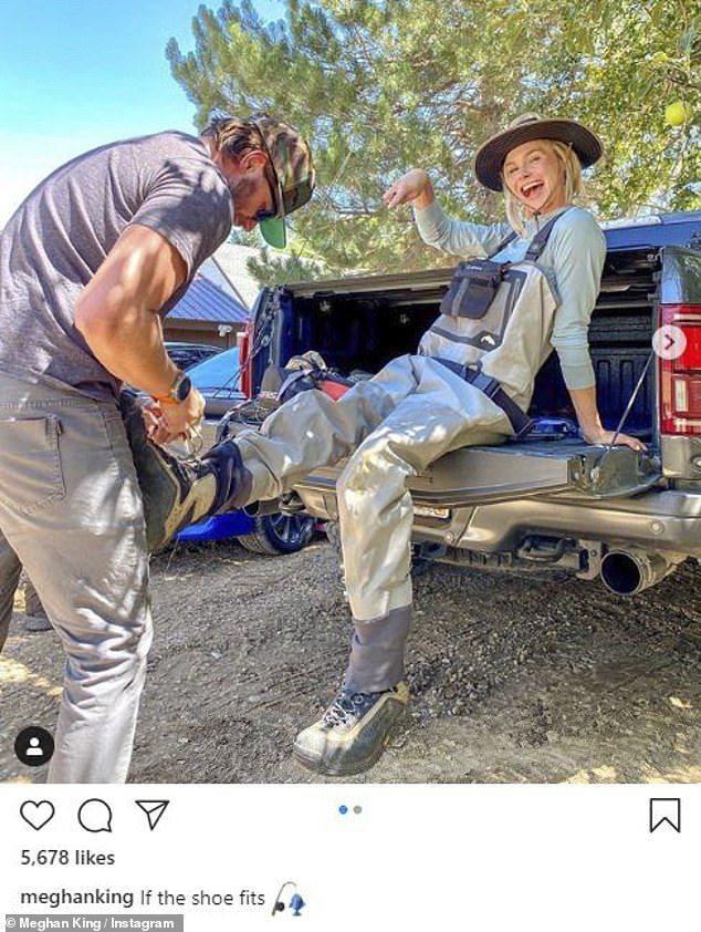 Happy:Real Housewives of Orange County star Meghan King looked gleeful and in her element on Friday, when she posted two cute selfies with beau Christian Schauf