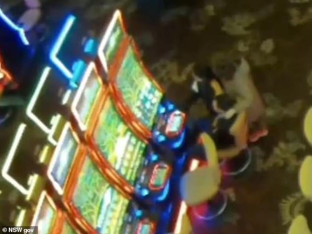 A 12-year-old girl snuck into the casino through an exit door and spent 17 minutes on the gaming floor with her parents (pictured) placing at least 21 bets on poker machines