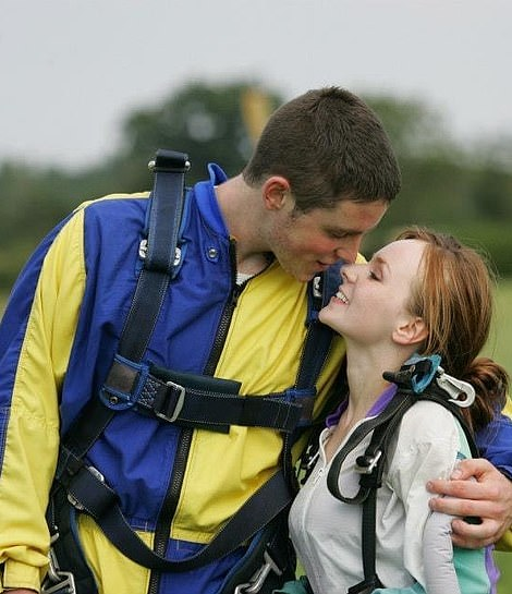 A daredevil duo: Lissie and Andrew, 21, loved adventures, such as skydiving here in 2012