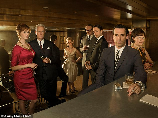 After work drink: The star launched to fame as the stoic and dry Don Draper on Mad Men; seen here in a promo shot for Season 4
