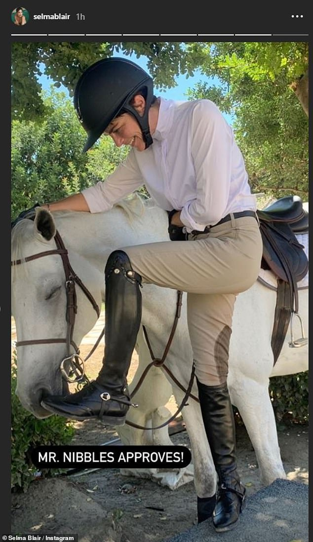 Riding in style: The actress, who has three film projects out this year, modeled an elegant equestrian look for the outing, complete with sleek new riding boots
