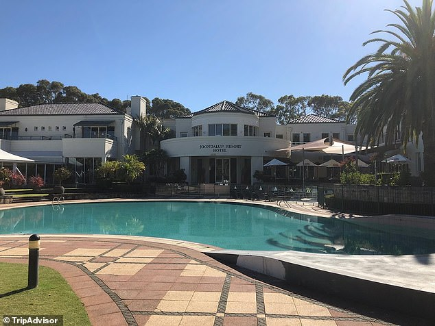 The 19-year-oldwas found with the woman inside his room at Joondalup Resort (pictured), in Perth, during his team's mandatory 14-day quarantine