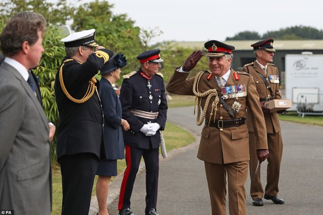 Chief of the Defence Staff General Sir Nick Carter arrives to attend the national service of remembrance marking the 75th anniversary of VJ Day at the National Memorial Arboretum in Alrewas, Staffordshire