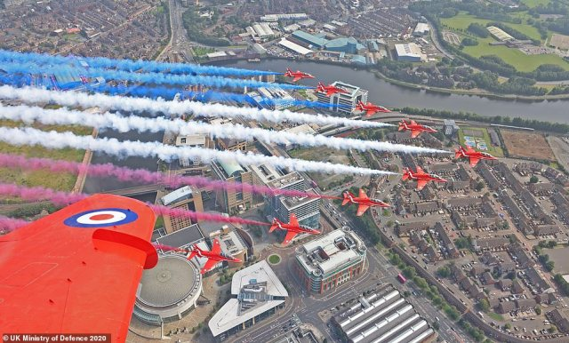 Red Arrows Flypast over Belfast, Ireland. VJ Day 75: Commemorations mark 75 years since Victory over Japan The Armed Forces will lead the nation in commemorating the 75th anniversary of Victory over Japan Day and paying tribute to the enormous sacrifices of the Greatest Generation during the Second World War