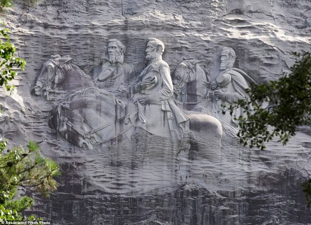 Stone Mountain Park is famed for its giant rock sculpture of Confederate Civil War figures Stonewall Jackson, Robert E. Lee and Jefferson Davis. The sculpture is America's largest Confederate memorial