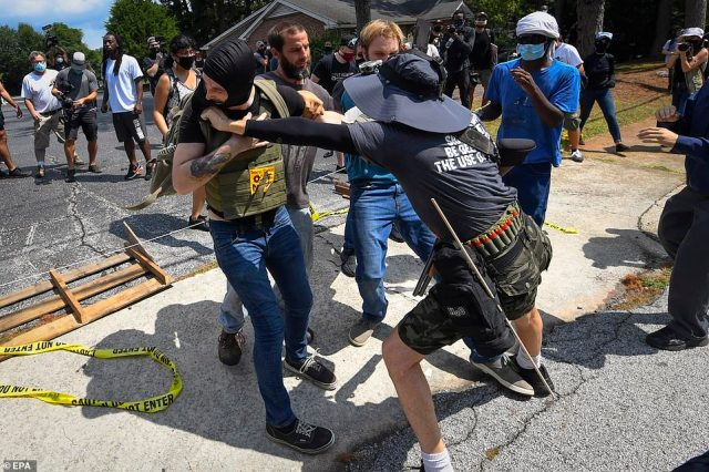 Scenes turned violent on Saturday with multiple clashes breaking out between protesters and counter protesters