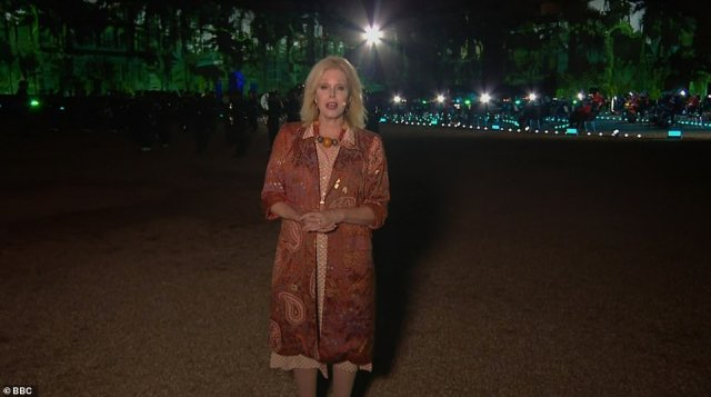 Hostess: Joanna wore an embellished dress and jacket for her presenting duties