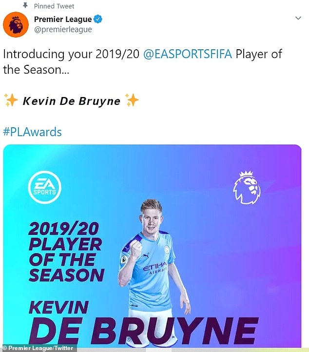 De Bruyne missed out on the award during City's title-winning seasons but not this time