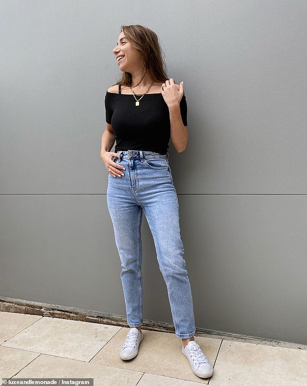 Sydney fashion blogger 'Luxe and Lemonade' wears the $20 straight leg jeans with an off-the-shoulder t-shirt and white tennis shoes