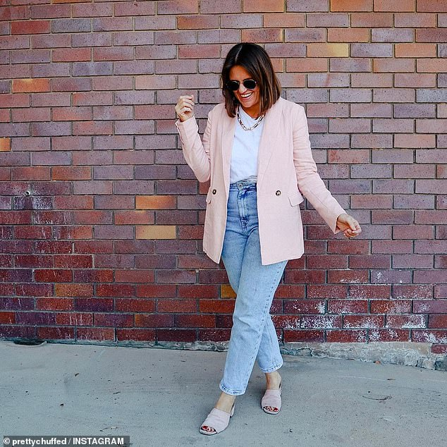 Brisbane blogger Jasmine Hunt (pictured) said she was 'pretty much obsessed' with the style and fit of the affordable denim