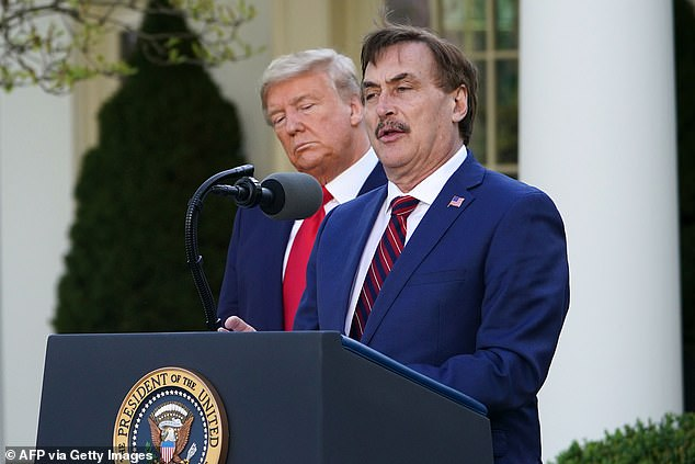 MyPillow CEO Mike Lindell is a strong supporter of Trump (pictured: speaking outside the White House during a coronavirus briefing in March)